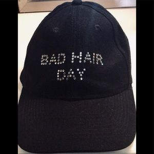 "a9cacd8b0220b "" Bad Hair Day"" blinged glam black baseball hat"
